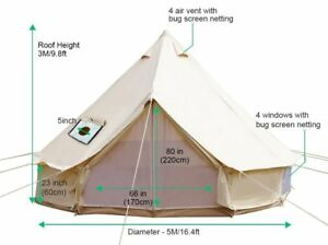 5M Outdoor Canvas Bell Tent Waterproof Family C&ing Tent +Winter Stove Hole  sc 1 st  eBay & Bell Tent | eBay