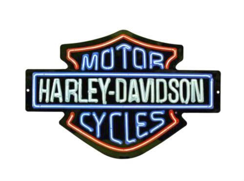 Harley-Davidson® Neon-Look Bar & Shield Embossed Tin Wall Sign 2011381