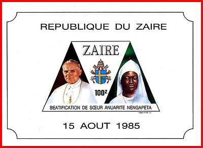 ZAIRE 1985 POPE JOHN PAUL II S/S MNH RELIGION, COSTUMES  (3ALL)](Famous People Costumes)