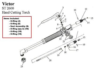 Victor St2600 St2600fc Cutting Torch Rebuildrepair Parts Kit