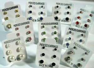 3-PAIRS-SMALL-MINI-STUD-EARRINGS-CRYSTAL-DIAMANTE-PEARL-STONED-BLACK-COLOURS