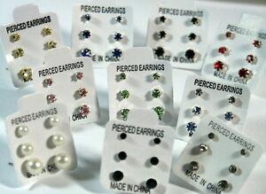 3-PAIRS-SMALL-MINI-STUD-EARRINGS-CRYSTAL-DIAMANTE-PEARL-STONED-BLACK-COLOURS