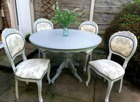 Shabby chic table and 4 chairs