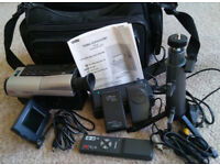 Samsung VP-L300 Video 8 Camcorder - 2 Batteries, Charger & Nylon Carry Bag with ample compartments.
