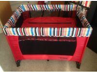 Obaby travel cot with basinett and extra mattress