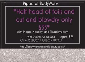 *HAIR OFFER* half head of foils and cut and blow-dry just £35 with Pippa at BodyWorks! NORWICH