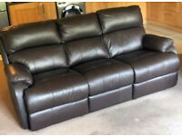 2 x 3 seat Sofology Belfry Leather reclining settees in California Walnut Brown