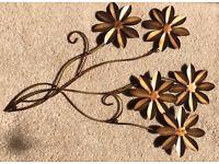 Pretty metal flower brass-effect decoration