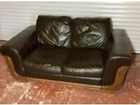 Great Quality Heavy Dark Brown Leather Sofa - Free Delivery Worcester.