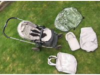 BabyStyle Oyster 2 Mirror Pushchair Chassis with Silver Mist Colour Pack