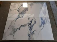 TILES JOBLOT: Blue/ white marble effect rectified polished porcelain tiles 60x60cm 30 square metres