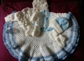 brand new hand knitted circular blanket and sets
