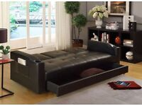 CUP HOLDING 3 SEATER ITALIAN PU LEATHER SOFA BED SETTEE WITH STORAGE DRAWER Black & Brown