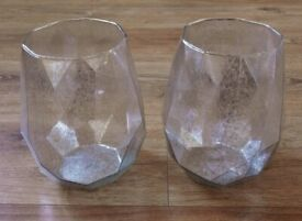 2 Large Gisela Graham Silver lustre Geometric Large Tealight Candle Holders Vases Ornaments