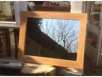 Large SOLID OAK Contemporary Mirror (87 x 67cm) Mantel