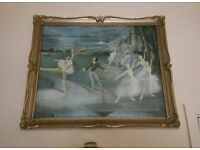 Ornate Framed Swan Lake Print by L Edwards