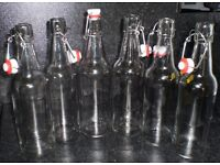 6 x 500ml glass vintage style swing locking clip top bottles used to preserve oils & juices