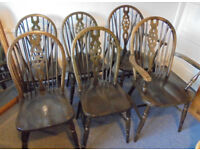 Six Hardwood Wheel Back Kitchen or Dining Chairs, £90 for the set