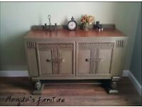 Antique 1930's oak sideboard-painted with Annie Sloan Olive Green