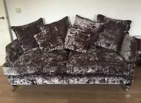3 & 2 DARK GREY CRUSHED VELVET SOFAS IMMACULATE