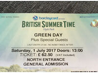 Green Day Tickets Hyde Park X2