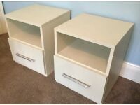 Pair Of White Excellent Quality Bedside Cabinets H20.5in/52cm W17.4in/44cm D18in/46cm