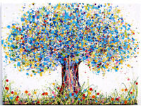 LARGE ABSTRACT NEW BLUE & YELLOW TREE & POPPY FLOWERS MODERN ART PAINTING ON CANVAS | Free Delivery