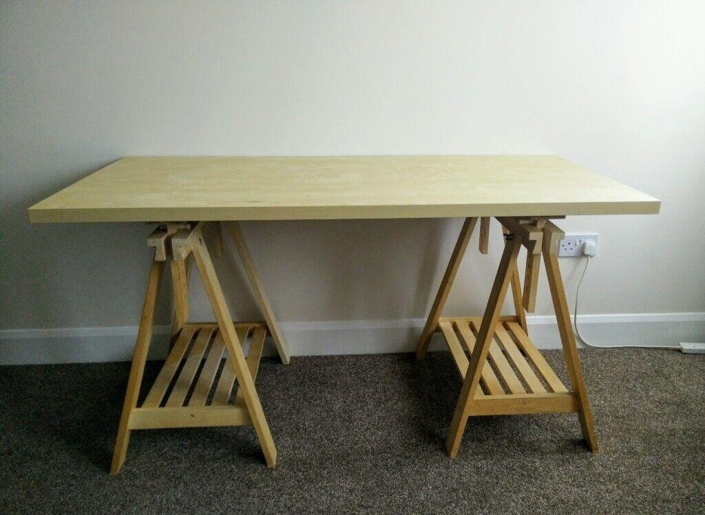Trestle Table Ikea Adjustable Height Finnvard Linmon 150x75 In