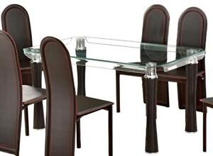 "Gorgeous Bent Glass Dining Table 'Alana' - Black Friday Bonus Extra 10% Off! - 59"" x 35.5"" x 29.5""h"