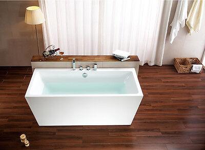 "New 67"" Soaking Freestanding Pedestal Bathtub White Acrylic Indoor Tub + Faucets"