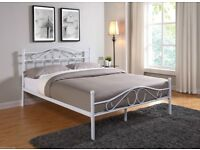 White metal frame double bed + mattress
