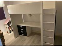 FREE DELIVERI IKEA STUVA WHITE & BLACK LOFT BED GOOD CONDITION