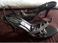 Womens Casandra Black Small Stiletto Sandals