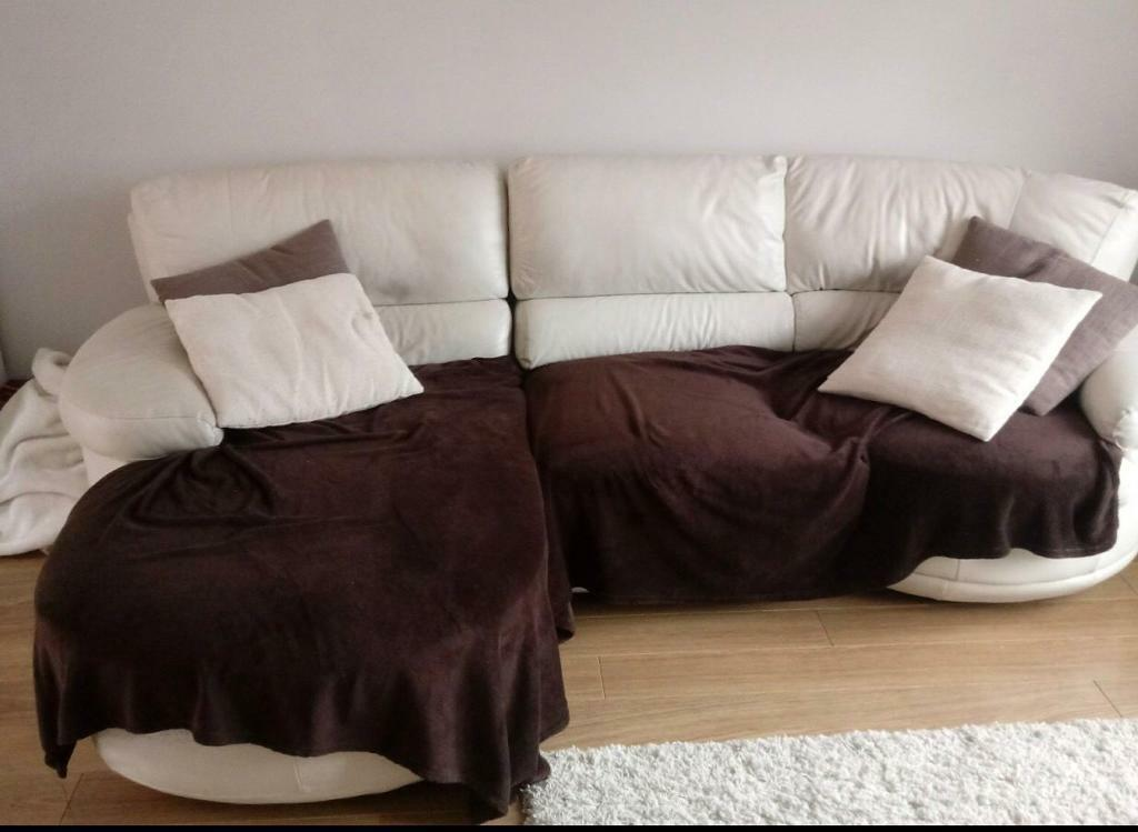 3 Seater white leather sofa chaise longue - corner | in ...