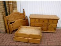 Solid pine bed and drawer set