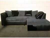 Elegant Black and Grey Corner Sofa