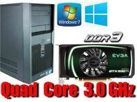 Gaming PC, QUAD CORE 3.0GHz, GTX550TI GDDR5 , 4GB Ram,320GB HD