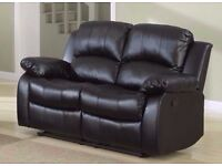 **London Bonded** Beautiful Leather Recliner 3 +2 seater Black, Brown or Cream