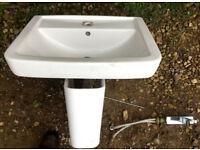 Large Vitra ceramic semi-pedestal sink and tap