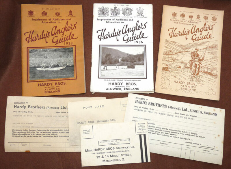 3 Hardy Supplement to Additions & Alterations Anglers Guides 1933, 1936, 1938...