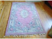 Chinese carved wool rug, pinks