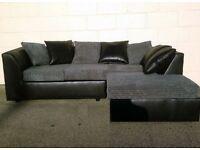 Elegant Black and Grey Corner Sofa