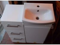 Cloakroom or Ensuite sink vanity unit and matching cupboard - almost new (read descr)