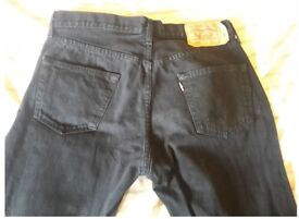 "Original Levi 501 Bootleg black jeans. 34"" waist, 30"" leg. Excellent condition. No holes. £20"