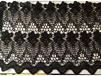 Wide Black Crotchet Lace 300mm - BULK BUY