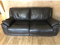 3 + 2 seater chocolate brown couch