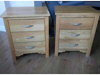 Solid oak pair of bedside tables