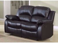 Queen New 3+2+1 Seaters Leather Bonded Recliner Sofa Suite In Brown/Black/ Cream Colors