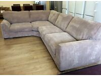 ScS Dreamer, Beige Jumbo Cord Fabric CORNER SOFA (RRP £1200) + FREE LOCAL DELIVERY