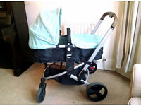 Mothercare Xpedior Pram / Pushchair with rain cover, foot cosy, hood. Collection Hyndland